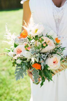 Peach, orange and gray wedding bouquet