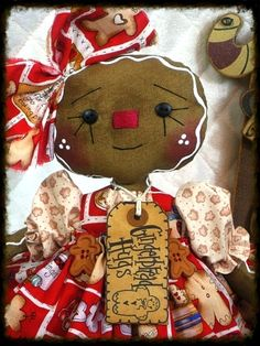Primitive+Raggedy+Gingerbread+Doll+COOKIE+by+GingerCreekCrossing,+$39.95