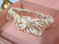 Vintage Wedding Garter in Original Keepsake Box, Ivory Satin Ribbon Rosettes, Lace, Ribbonwork Bridal Garter by UrbanRenewalDesigns on Etsy