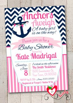 Nautical Baby Shower Printable Invitation, Nautical Girl Baby Shower JILL this is cutezi Baby Shower Invites For Girl, Girl Shower, Baby Shower Themes, Nautical Baby Shower Decorations, Shower Ideas, Sailor Baby Showers, Anchor Baby Showers, Shower Party, Baby Shower Parties