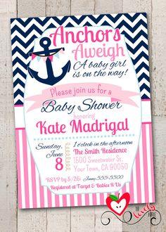 Nautical Baby Shower Printable Invitation, Nautical Girl Baby Shower Invite