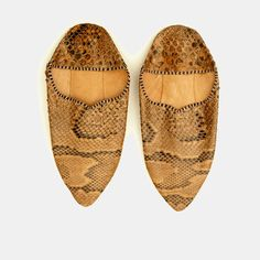 Vintage snakeskin leather Moroccan babouches – pièce