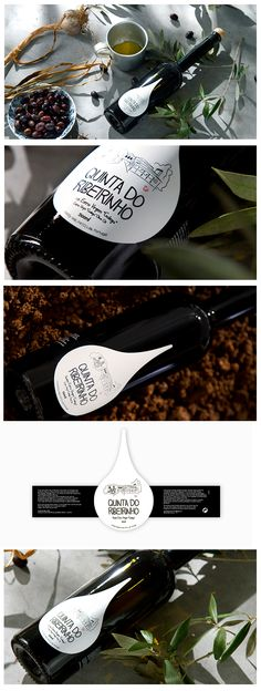 """The olive oil """"Quinta do Ribeirinho"""" is produced in Bairrada (Portugal) from kale Olive by Luísa Pato . Inspired at the family House """"Quinta do Ribeirinho"""" , owned by Pato family, the graphic concept was developed. We chose a teardrop label format for this elegant olive oil bottle, moving away from a traditional image."""