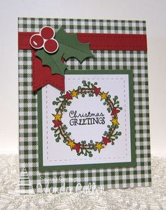 Handmade card by Wanda Cullen featuring the Holiday Greetings stamp set from Verve. #vervestamps