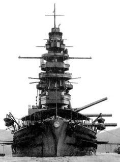 16 in battleship Nagato pictured pre WW2: Admiral Yamamoto's flagship during the attack on Pearl Harbor in December 1941, she was the only Japanese battleship to survive WW2 in floating condition, albeit seriously damaged. Post war she was expended as a target during US nuclear tests - photo elsewhere on this board.