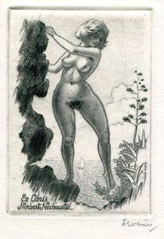 Exlibris ex libris erotic bookplate by Mark Severin (B) for N. Nechwatal (C2) in Art & Antiquités, Arts, Gravures | eBay