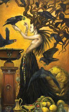 paintings fine art original work symbolism fantasy female nature animals crows birds fox brooklyn New York Dark Fantasy, Fantasy Art, Crow Bird, Raven Art, Crows Ravens, Goddess Art, Witch Art, Mellow Yellow, Gods And Goddesses