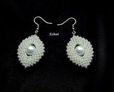 Beaded white pearl and seed bead earrings RAW OOAK by Szikati, $30.00