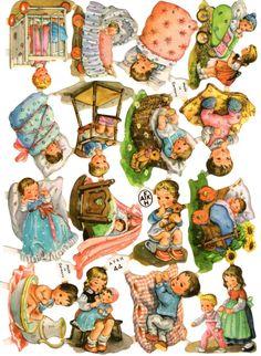 2- Sheets ~ AFKH #44 German  Die Cut Sheet of 16 Scraps Babies Strollers Cribs