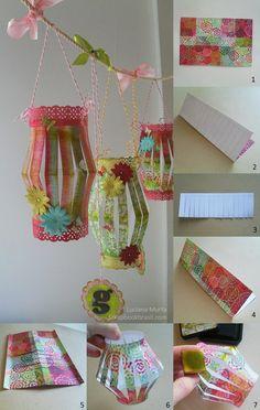 Decoração de festas: Lanternas de papel ⋆ Luciana Murta - Scrapbook e arte em papel Eid Crafts, Ramadan Crafts, Diwali Craft, Ramadan Decorations, Handmade Crafts, Diy And Crafts, Crafts For Kids, Arts And Crafts, Paper Crafts