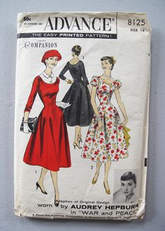 Vintage 1950s Sewing Pattern dress Audrey Hepburn costume from War and Peace