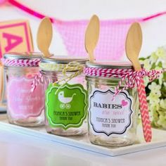 Personalized Baby Shower Candy Jar Favor Via #babyshowerideas4u  #babyshowerideas Baby Shower Ideas For Boy
