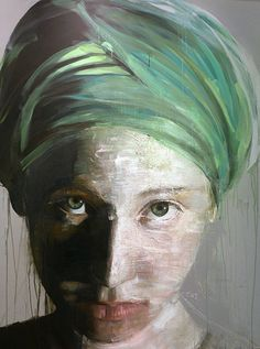 """Emma With Green Turban"" - Roberta Coni, oil and acrylic on canvas, 2014 {figurative art female head young woman face portrait painting drips #loveart} robertaconi.it"