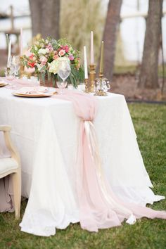 61 new ideas wedding decorations blush pink table runners Wedding Table Decorations, Wedding Centerpieces, Wedding Table Runners, Romantic Decorations, Tulle Centerpiece, Tulle Decorations, Wedding Table Linens, Table Clothes For Wedding, Rectangle Table Centerpieces