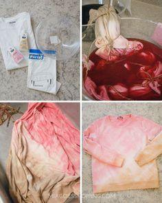 DIY Dip-Dye Tie Dye Top - Mia goes shopping tye dye shirts Tie Dye Steps, How To Tie Dye, Rit Tie Dye, Bleach Tie Dye, Diy Tie Dye Shirts, Diy Tie Dye Sweatshirt, Dip Dye Shirt, Textile Dyeing, Tie Dye Crafts