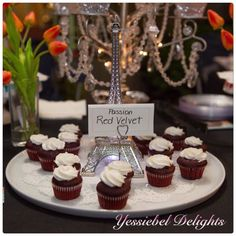Passion Red Velvet - Eiffel Tower Display Red Velvet, Place Cards, Tower, Cupcakes, Place Card Holders, Passion, Display, Table Decorations, Home Decor