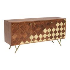 Bibi Solid Wood Sideboard, Acacia & Brass - Barker & Stonehouse