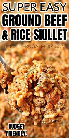 Easy Ground Beef and Rice Skillet- this family favorite is made with basic pantry staples, incredibly simple to make and quite delicious! The perfect recipe for a frugal weeknight dinner. #thriftyfrugalmom #groundbeefandrice #budgetrecipe Ground Beef Rice, Ground Beef Dishes, Ground Beef Recipes For Dinner, Dinner With Ground Beef, Dinner Recipes, Dinner Ideas, Hamburger And Rice Recipes, Easy Rice Recipes, Easy Healthy Recipes