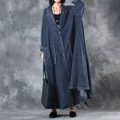 Polo Collar Single Breasted Retro Literature Long Sleeve Denim Coat