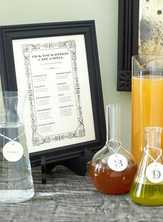 DIY Potion Bar Menu (Photographer: Brie Williams)    What a super fun and GREAT idea for a Halloween party...the guests get to create their own potions (drinks) for whatever 'wish' they'd like fulfilled ;-)