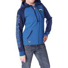 Reebok San Diego Chargers Women's Letterman Full Zip Hooded Sweatshirt - NFLShop.com