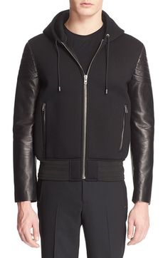 GIVENCHY Leather Sleeve Neoprene Hoodie.  givenchy  cloth   0efe5bdcc33df