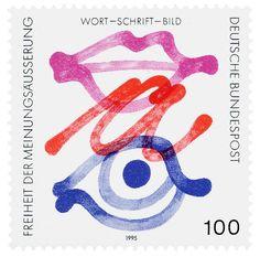 Effert (Paul, DE) 1995 Freiheit der Meinungsäußerung (Deutsche Bundespost) Briefmarke | Flickr - Photo Sharing! Book Cover Design, Book Design, German Stamps, Postage Stamp Art, Fun Illustration, Small Art, Illustrations And Posters, Stamp Collecting, Graphic Design