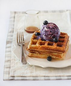 Brown Butter Waffles with No-Churn Blueberry Ice Cream by raspberri cupcakes, via Flickr