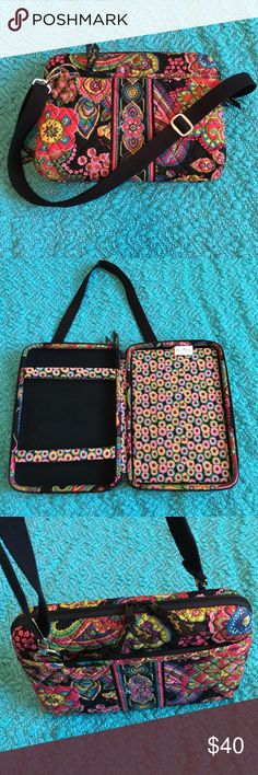 """VERA BRADLEY MINI LAPTOP/I PAD CASE LIKE NEW VERA BRADLEY SYMPHONY IN HUE PATTERN MINI LAPTOP HARD CASE. Large enough for an 11"""" mini laptop or I Pad. Soft adjustable interior bars secure your portable e-reader, I Pad, Handheld games etc. 2 outside pockets, zip around closure Vera Bradley Bags Laptop Bags"""
