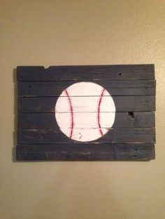 Rustic baseball sports decor in Motor City Blue. Perfect wall hanging for boys bedroom or nursery.