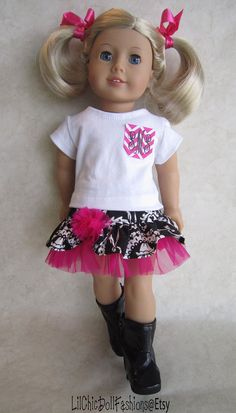 American Girl Black damask ensemble by LilChicDollFashions on Etsy, $35.00