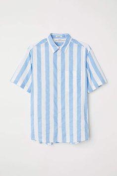 online store 0b148 ef549 H M Regular Fit Linen-blend Shirt - Blue Ljusblå, Blå Och Vit, Vita