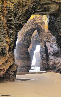 Amazing forms sculpted by the seawater for millennia. Beach of The Cathedrals, Galicia, Spain