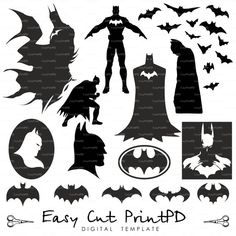 Batman Superhero Silhouettes svg eps dxf ai jpg от EasyCutPrintPD