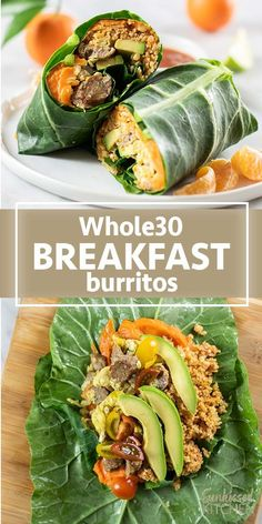 Healthy breakfast burritos wrapped in a collard green and filled with sweet potatoes eggs and turkey sausage. The perfect healthy wrap to start the day these burritos meal prep well. Recetas Whole30, Whole 30 Breakfast, Healthy Breakfast Recipes, Paleo Recipes, Healthy Breakfast Burritos, Sweet Breakfast, Sausage Breakfast, Perfect Breakfast, Healthy Recipes