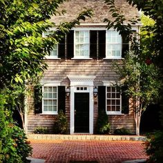 Colonial Cottage with black shutters, need this house! Cozy Cottage, Cottage Style, Lake Cottage, Style At Home, Future House, My House, Story House, Colonial Cottage, Black Shutters