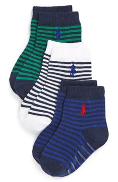 $12 Polo Ralph Lauren 'St. James' Stripe Crew Socks (3-Pack) (Baby & Walker) available at #Nordstrom