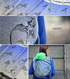 Baby Carrier Wrap Draac Saphire, made by Pellicano Baby, in pattern Dragon, contains cotton Limited Edition, released 6 January thickness 340 Baby Dragon, Baby Wraps, Babywearing, Cloth Diapers, Little Ones, Black And White, Catalog, Kids, Colorful