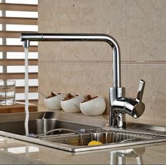 79.75$  Watch now - http://aliqra.worldwells.pw/go.php?t=32436098871 - Chrome Finish Swivel Spout Kitchen Sink Faucet Single Handle Deck Mounted Mixer Tap