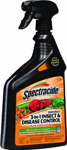 Spectracide 62325 Immunox 3-in-1 Insect and Disease Control for Plants Plus Fertilizer, 32-Ounce Spray by Spectracide. $13.16. 3 Products in 1; insect and disease control plus fertilizer. Kills insects on contact. Protects up to 2-week. Prevents and cures diseases on roses, shrubs and lawns. 32-Ounce ready to use. Spectracide Immunox 3-in-1 Ready-To-Use, 32-ounce - 62325