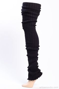 Black Thigh High Leg Warmers - Ribbed Black Leg Warmers from Artisan Socks www.artisansocks.com