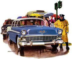 Plan59 :: Classic Car Art :: Vintage Ads :: 1956 Chevrolet by Melbourne Brindle