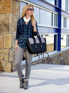 Not sure how I feel about wearing pearls with plaid...but the rest of the outfit is cute!