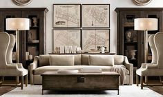 20 Amazing Living Rooms Inspired by Restoration Hardware Do you want the best of both words? These 20 amazing living rooms inspired by Restoration Hardware are the perfect mix of class and relaxation. Living Room Inspiration, Living Room Designs, Home Living Room, Camo Living Rooms, Living Decor, Restoration Hardware Living Room, House Interior, Living Room Furniture, Room Design