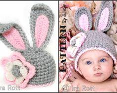 PATRÓN de ganchillo grueso Bunny sombrero con flor PDF patrón para 5 tamaños b116e069798