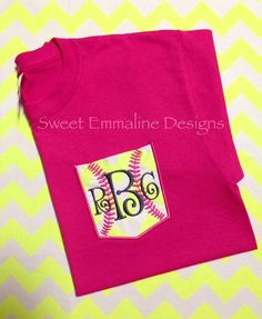 Design YOUR OWN custom SOFTBALL SHORT SLEEVE tee with shirt color, size, and thread choice for the softball stitches and your monogram.