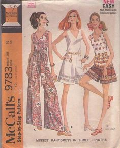 MOMSPatterns Vintage Sewing Patterns - McCall's 9783 Vintage 60's Sewing Pattern FUNKY Mod Hostess Border Print V Neck Summer Romper, Jumpsuit, Pantdress, Palazzo Pants Hostess Size 16