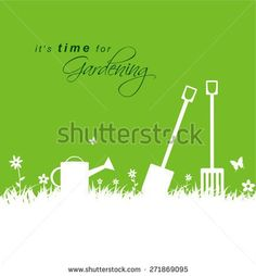 It's time for gardening. Spring gardening background with spade, rake and watering can