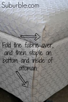 no sew ottoman reupholstering, painted furniture, At the corners instead of sewing fold in the fabric and then staple it into the frame (Diy Furniture Painting) Furniture Projects, Furniture Makeover, Diy Furniture, Diy Projects, Reupholster Furniture, Furniture Reupholstery, Furniture Repair, Plywood Furniture, House Projects