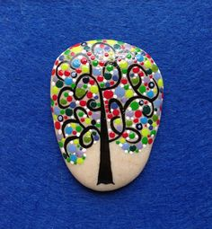 Dot Art Painted Tree Stone Gift Purple Green Yellow Decoration Painted rock Beachstone Adriatic Colourful Vibrant